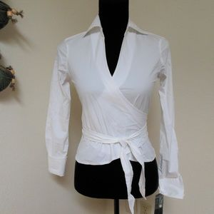 Kenneth Cole White Wrap Shirt Size 0